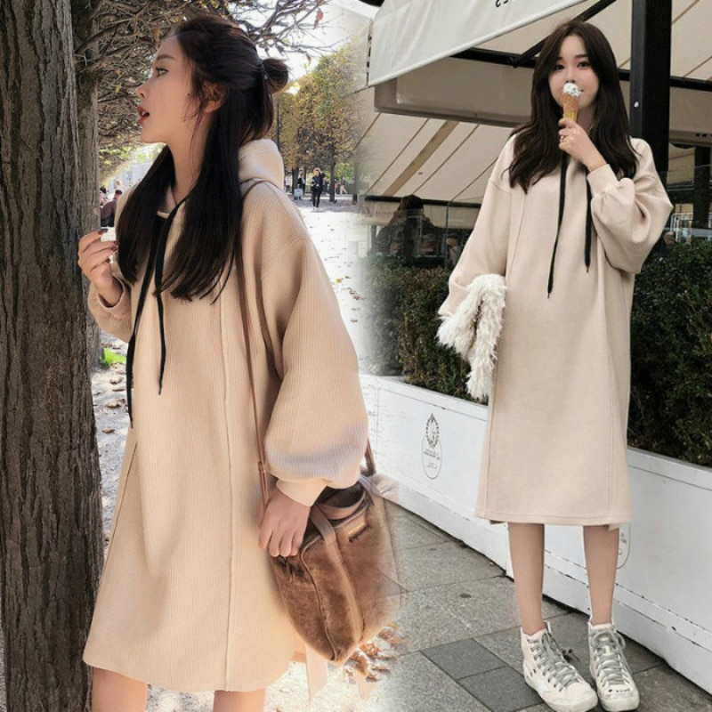 Winter Clothes Maternity Clothing Pregnancy Wear Velvet Hooded Coat  Solid Color Pregnant Women's Long Coat Loose Hoodies enlarge