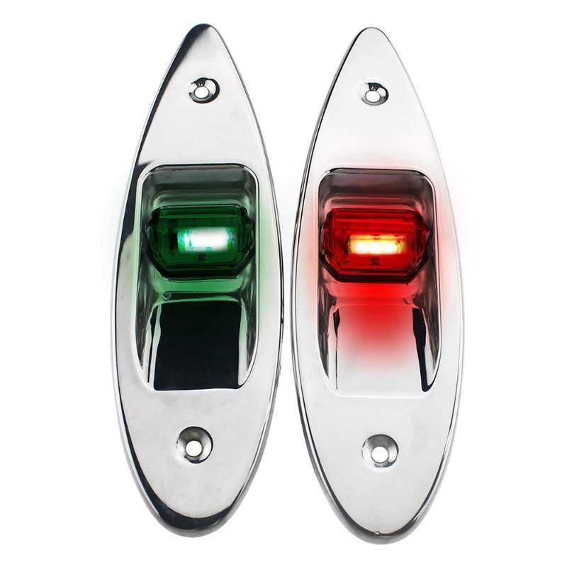 "LED rojo + verde, 1 par, montaje al ras marino, barco RV, luces LED de navegación lateral 12V, blanco natural LED ""5050"" 0,5 W, acero inoxidable"