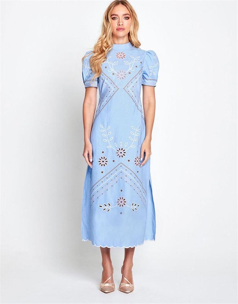 Vestido de primavera-verano ajustado con Diseño bordado de flores, moda australiana, Alicia,...