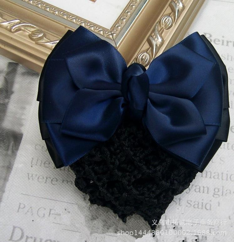 Women's hair clips professional female hair accessories hair net bow bank hotel nurse staff net pocket handmade ribbon gift