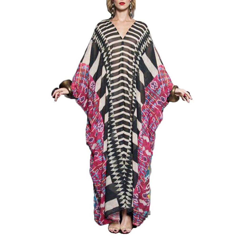 Женское праздничное платье макси Abayas, Длинное свободное платье в мусульманском стиле с V-образным вырезом и рукавом летучая мышь, элегантно...