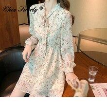 Summer Women's Chiffon V Neck Flower Print Dress Casual Long Sleeve Middle Dresses Female Boho Sweet
