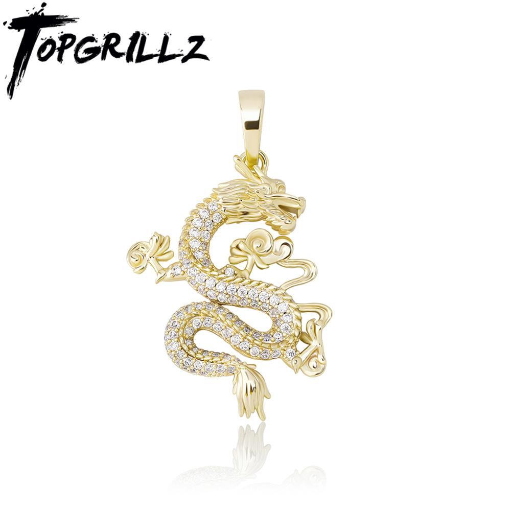 TOPGRILLZ, nuevo collar con colgante de dragón de Hip Hop, joyería de estilo chino, Zirconia cúbica, adornos para mascota, colgante con símbolo de suerte, regalo
