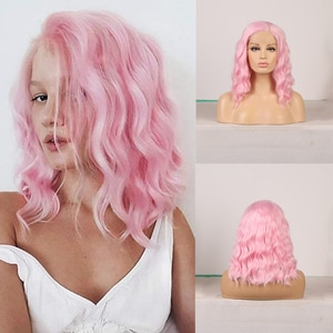 AIMEYA Synthetic Lace Front Wig for Women Natural Wave Short Bob Wig with Side Part Pink Wigs Shoulder Length Cosplay Wigs