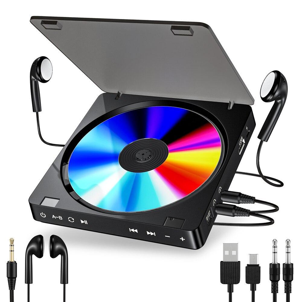 Reproductor de CD portátil para deportes, botón táctil recargable, Reproductor de disco compacto, Reproductor de CD, auriculares dobles, lecteur CD Walkman