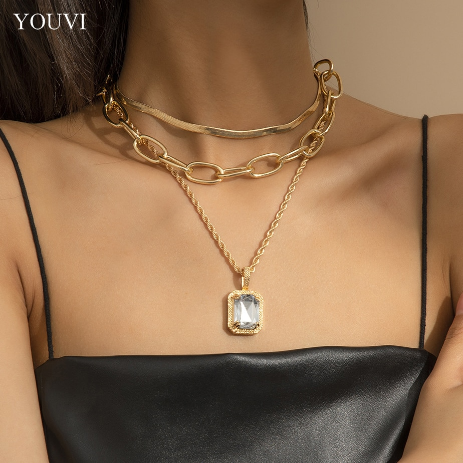 YOUVI 3Pcs Sexy Snake Chains Choker Women's Necklace Jewelry on the Neck Crystal Couple Pedants Necklace Gothic Accessories