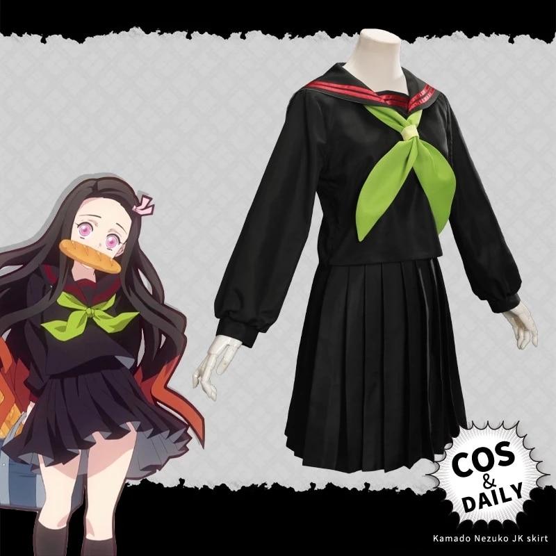 Disfraz de Kimetsu no Yaiba Kamado Nezuko... uniforme de estudiantes Japanese de...
