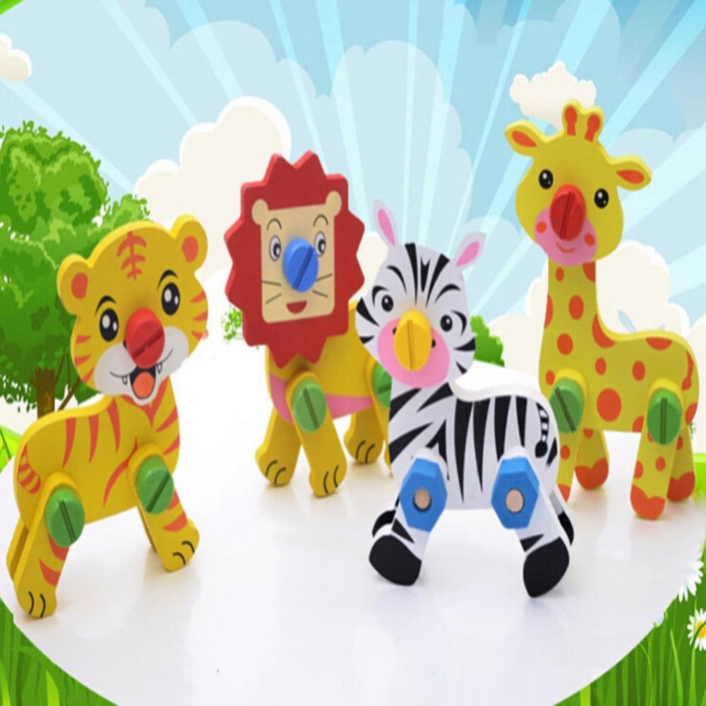 Новый стиль, Детские сборные игрушки с животными, Детские деревянные игрушки, детские разборные головоломки, обучающие и обучающие игрушки