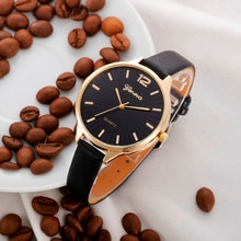 Geneva Luxury Band Women Watches Casual Checkers Faux Leather Quartz Analog Wrist Watch Women Watch
