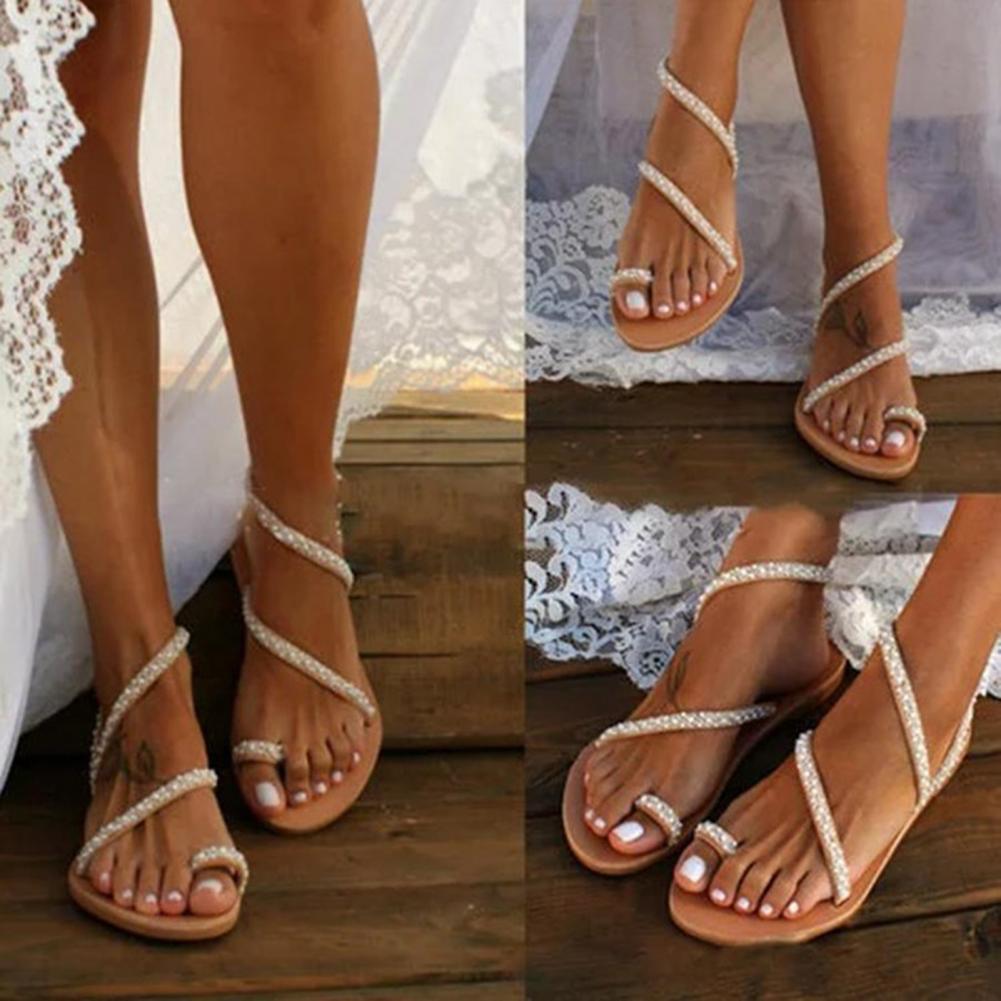 Stylish Women Sandals Rhinestone Anti-slip Comfortable Flip Flop Open Toe Flat Sandals Women Shoe fo