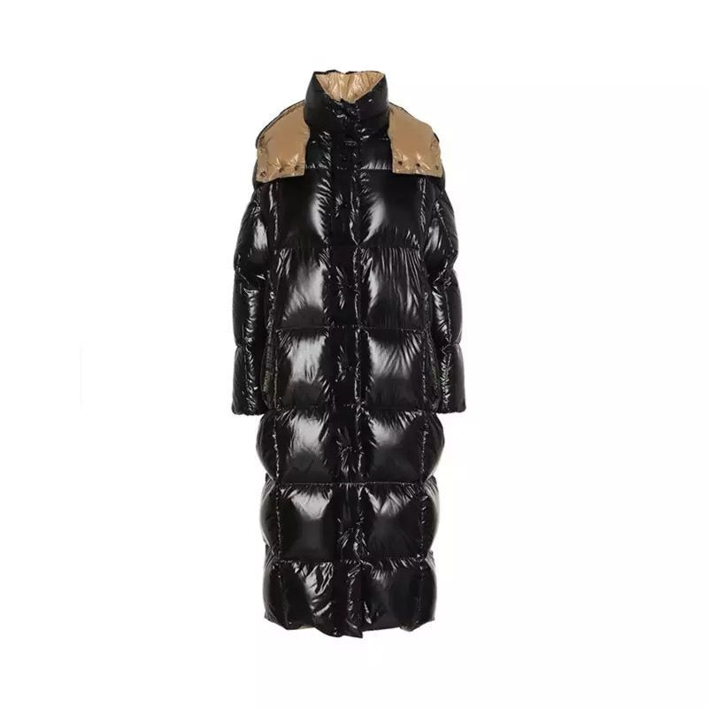 Autumn Winter Black Fluffy White Duck Down Jacket Female Thickened Warm Hooded Knee Quilt Outerwear Coats Women's Glossy Parkas