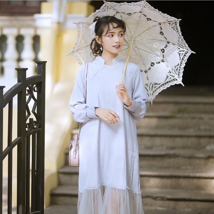 فستان طويل شيفون حرير محسّن للفتيات ، ملابس أنيقة فضفاضة لفصلي الربيع ، على الطراز الصيني الجديد
