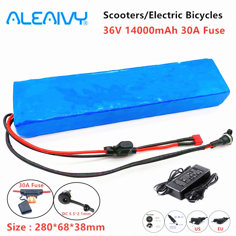 AliExpress - 36V 14Ah E-bike Battery Battery Pack 18650 lithium Battery Pack 600W electric bicycles 36V 14000mAh With 30A Fuse And Charger