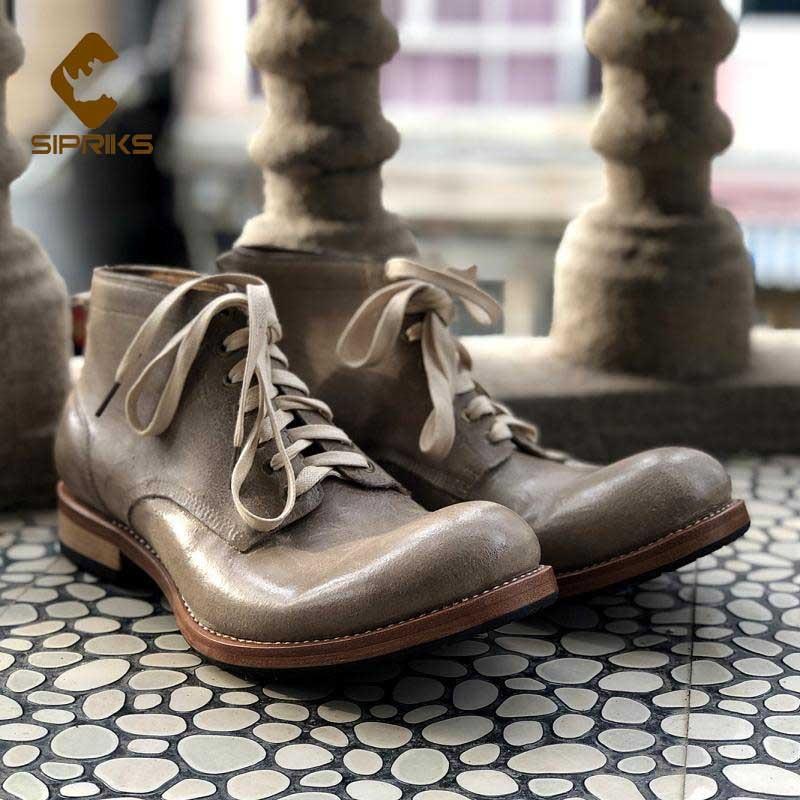 Sipriks-أحذية جلدية أصلية للرجال ، أحذية برقبة دائرية للكاحل ، أحذية إيطالية مخصصة Goodyear Welt ، أحذية كاوبوي عتيقة 44 45