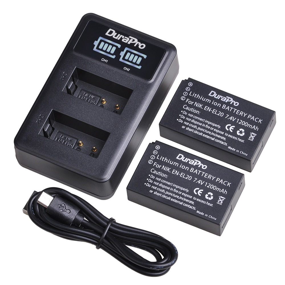 Batería recargable de iones de litio de 1200mAh EN-EL20 EN EL20 + cargador de batería Dual USB LED para Nikon 1 J1 J2 J3 s1 Coolpix A1 AW1 Cámara