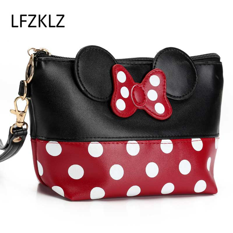 Travel Bow Dot Cosmetic Bag Cartoon Makeup Case Women Zipper Hand Holding Make Up Handbag Organizer Storage Pouch Wash Bags hanging travel cosmetic bag women zipper make up bags oxford high capacity makeup case handbag organizer storage wash bag