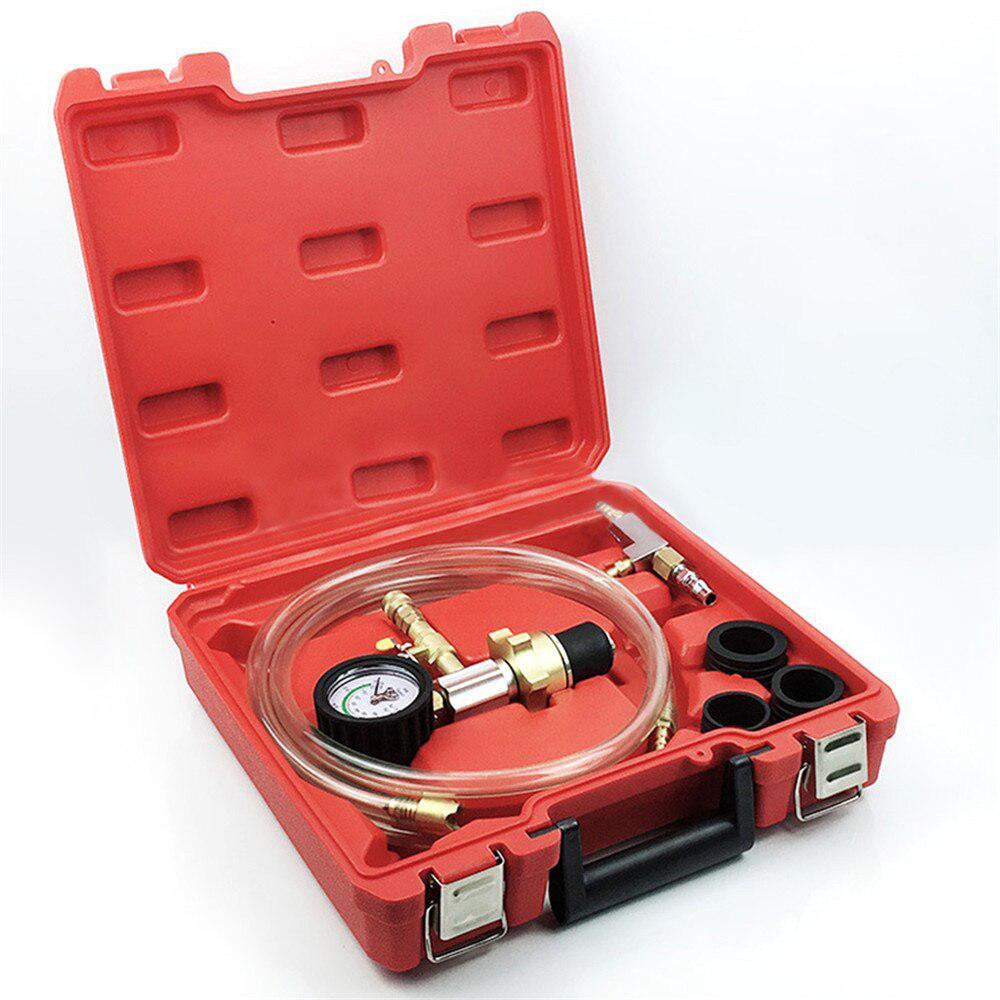 Sistema de refrigeración por vacío automotriz, Kit de calibre con herramienta de recarga de refrigerante para radiador de coche, con funda de transporte, herramientas de inspección