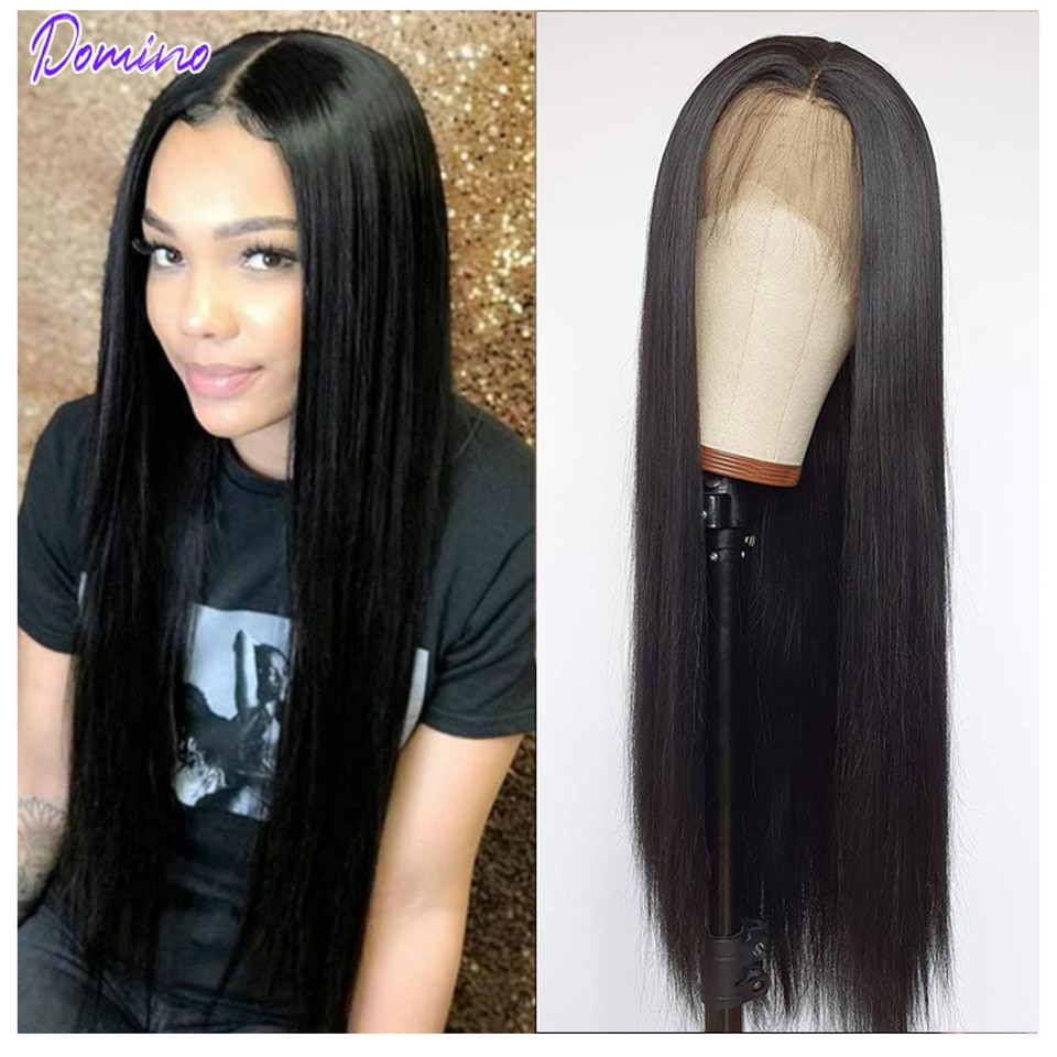 DOMINO Lace Front Human Hair Wigs Straight 4x4 Pre Plucked 180% Indian Remy Hair 4x4 Closure Wig 30 Inch Frontal Wigs Women