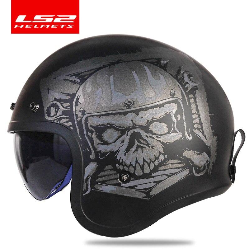 Casco clásico LS2 Spitfire Diseño de Moda de cara abierta retro de aviación medio casco LS2 OF599 casco de moto con hebillas de visor de burbuja
