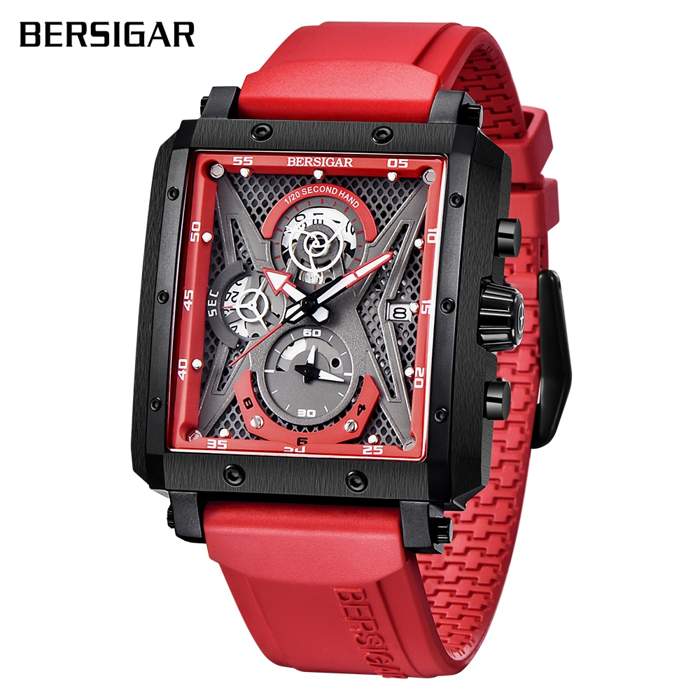 Rectangular Watches for Men BERSIGAR Mens Watch Barrel Type Quartz Fashion Luxury Sports Waterproof