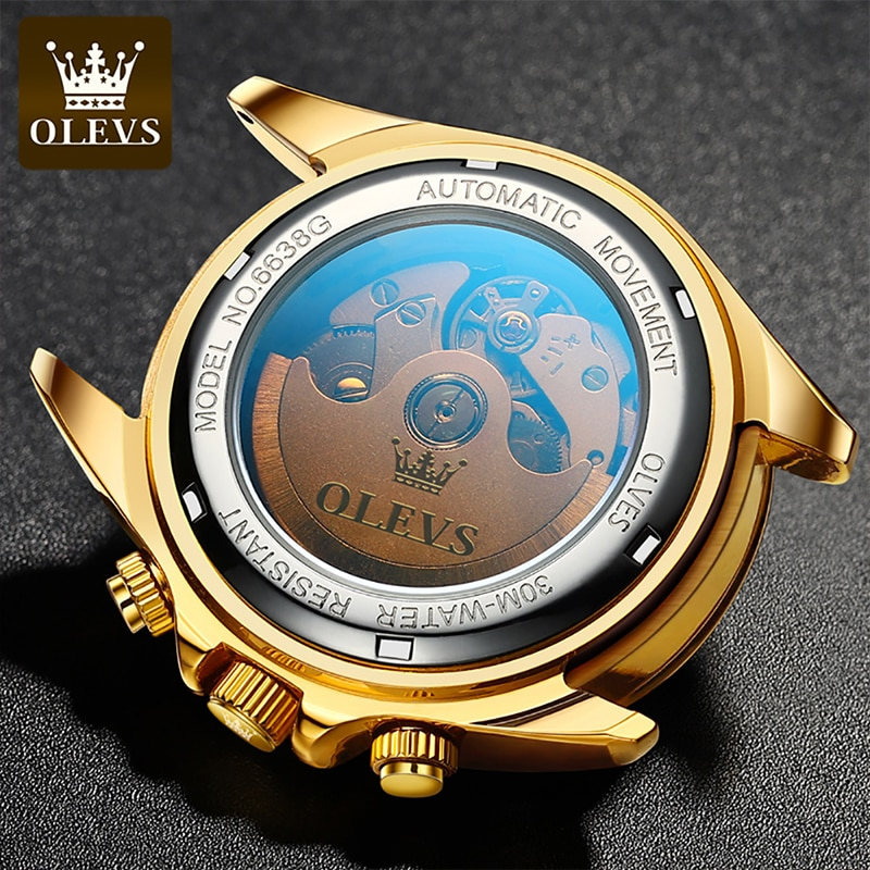 OLEVS New Green Water Ghost Automatic Mechanical  Stainless Steel Large Dial Luminous Men's Fall Resistant Scratch Watches 6638 enlarge