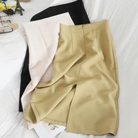 new autumn spring women split solid straight package hip elegant office lady fashionable female skirts