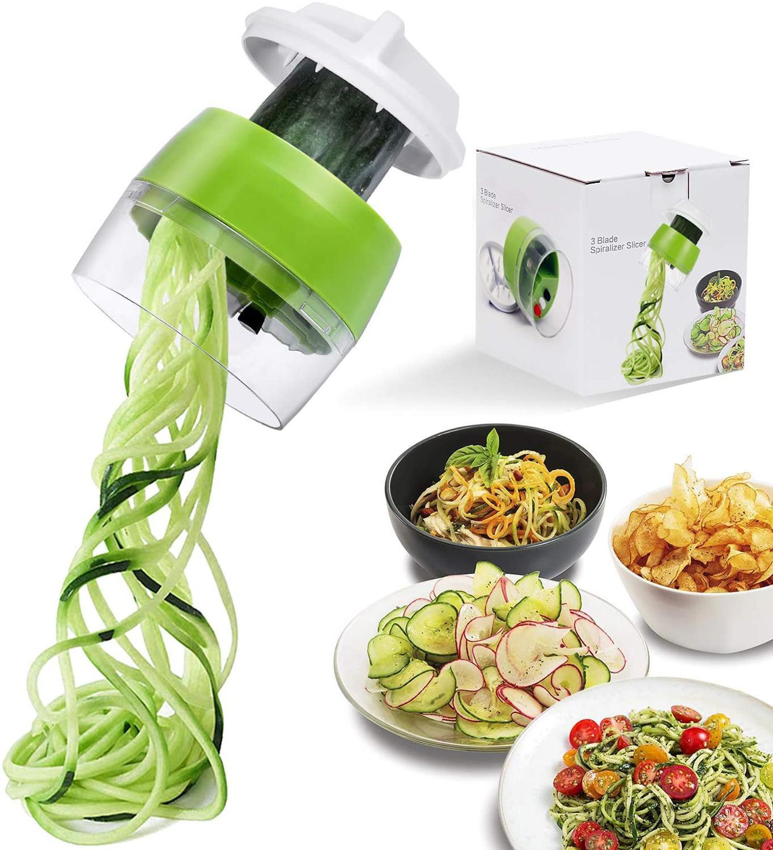 Handheld spiralizer vegetal fruit slicer 4 em 1 ajustável espiral ralador cortador ferramentas de salada abobrinha macarrão fabricante espaguete