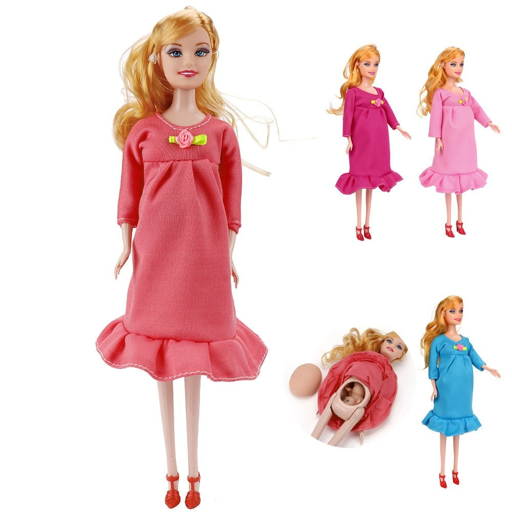 Hiinste-muñecas de juguete para niños, 1 Uds., educativo, Real, embarazada, traje, mamá,...