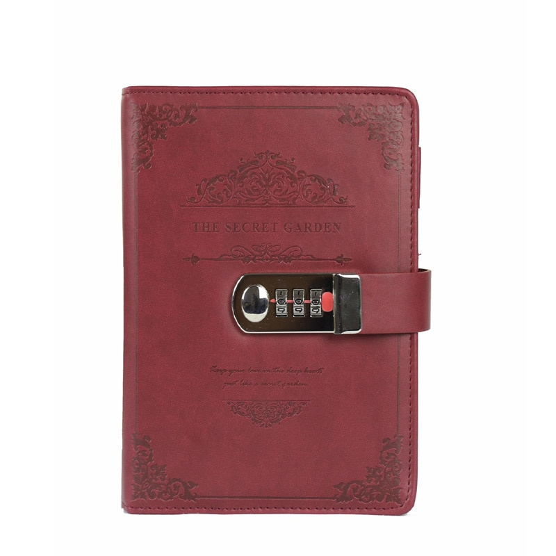Diário de couro do plutônio de 32 k com senha do planejador de bloqueio cadernos retro e diários agenda livro de notas para a escola notebooks suprimentos