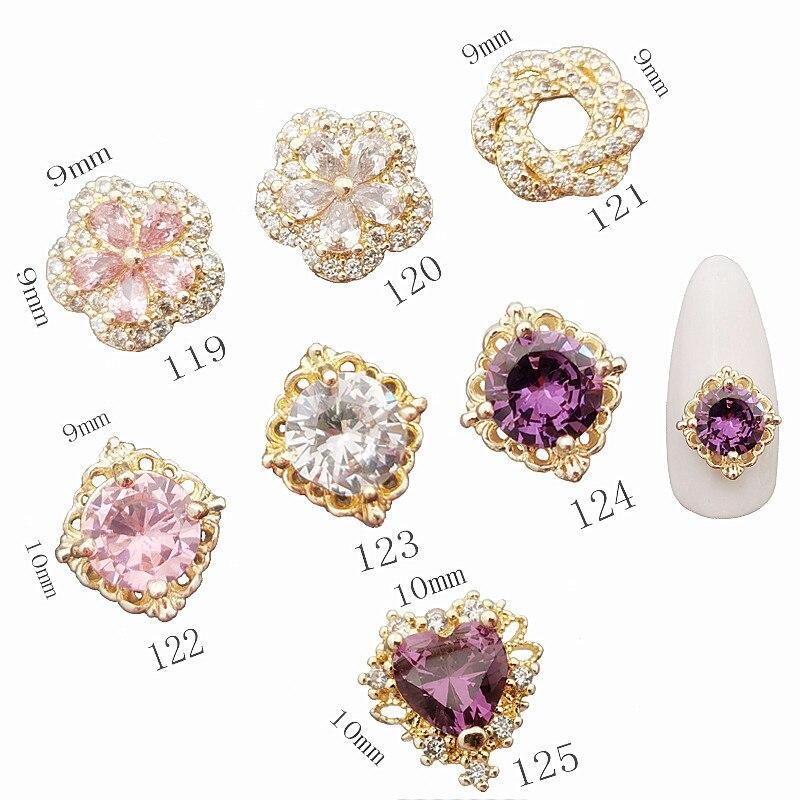 5pcs/lot Korea luxury Zircon Nail Deco Parts 3D Alloy  Nail Art Accessories Glitter Rhinestone Charm Jewelry Nail Tips Supplies
