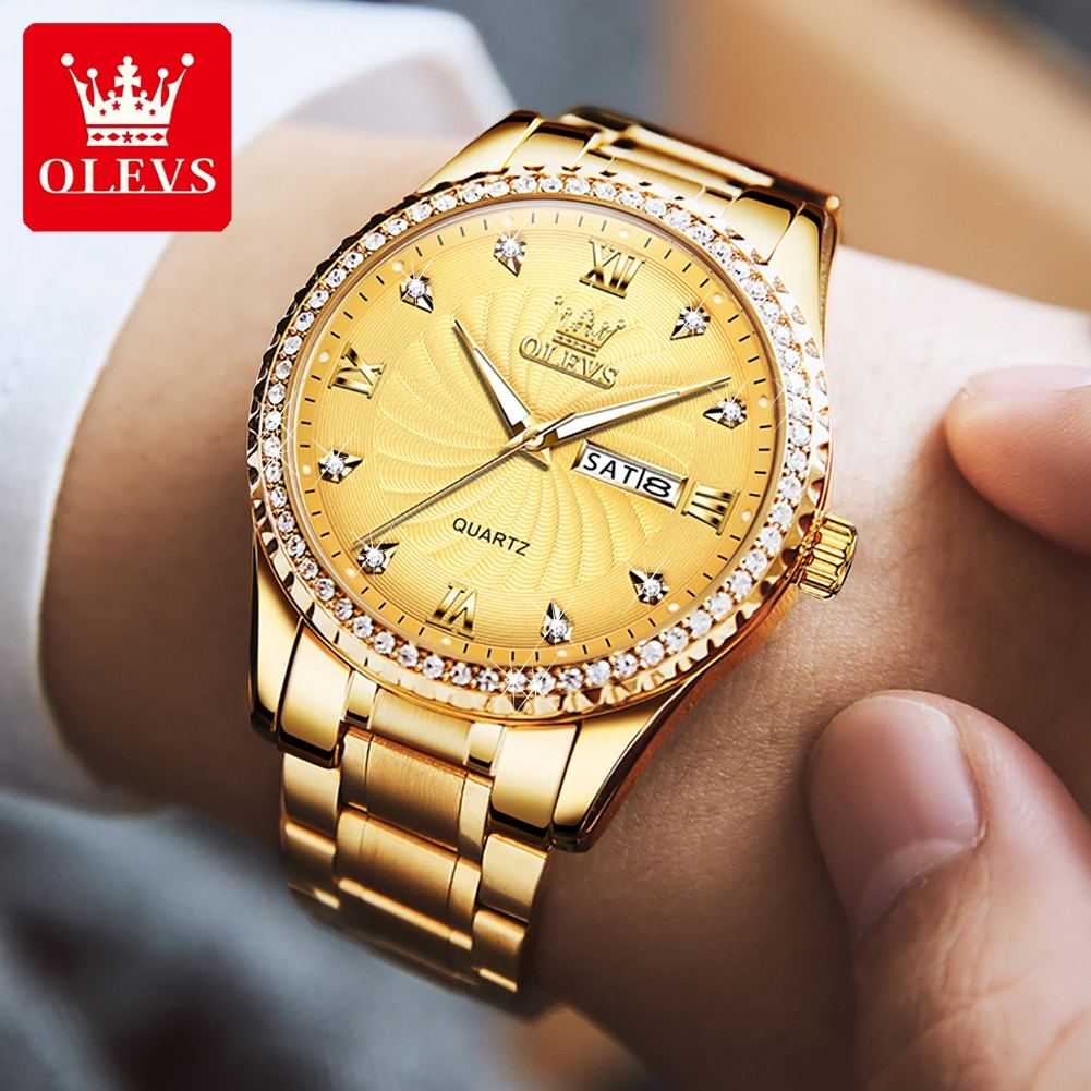 OLEVS Montre Homme Men's Watches 2021 Luxury Gold Stainless Steel Man Watch Waterproof Casual Busine