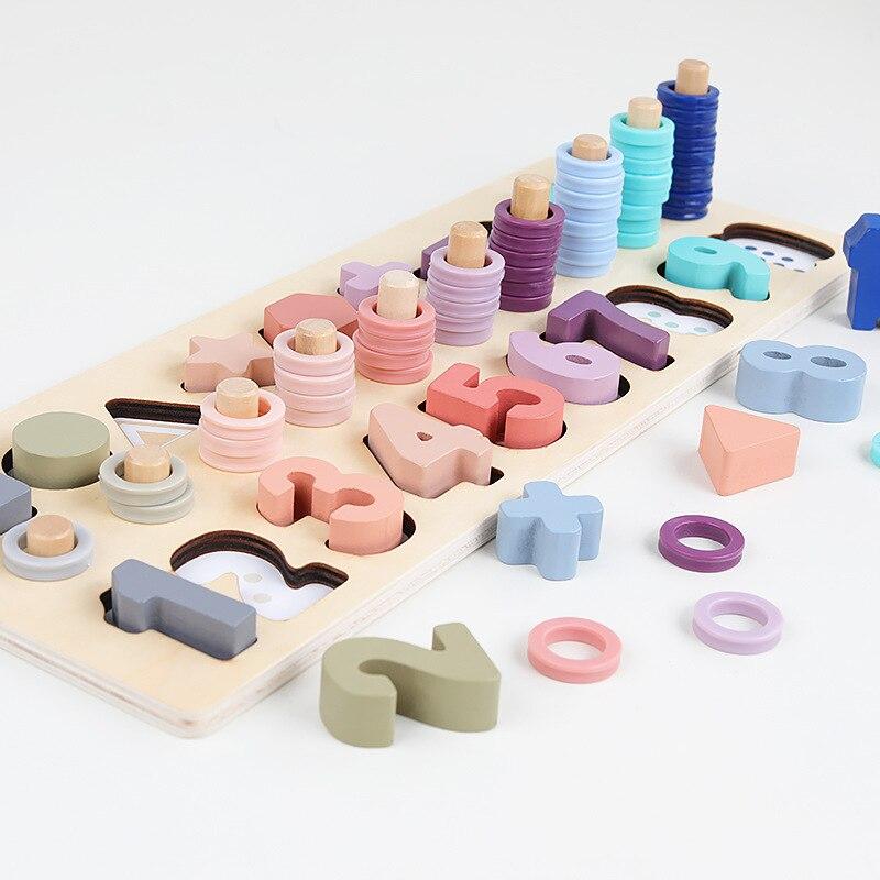 Juguetes de madera preescolares para niños, rompecabezas de bloques de construcción con forma geométrica, rompecabezas de letras digitales para educación temprana para niños, regalo para niños