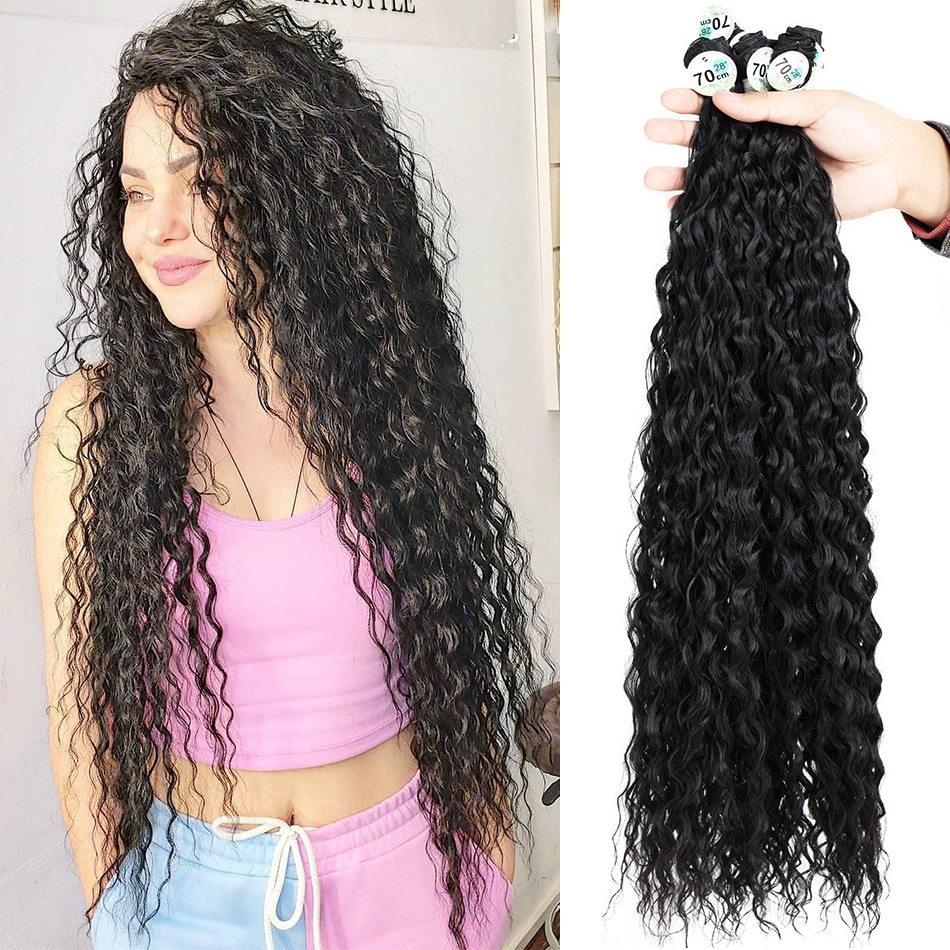afro cachos kinky curly cabelo pacotes de onda de agua sintetica tecelagem para tranca