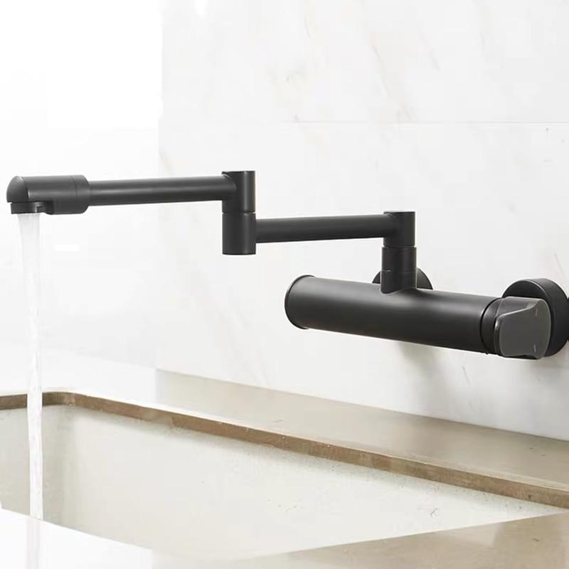 WZLY-صنبور خلاط مطبخ كروم قابل للطي ، صنبور خلط للحوض ، ثقب مزدوج دوار 360 درجة ، نحاسي أسود ، للمطبخ