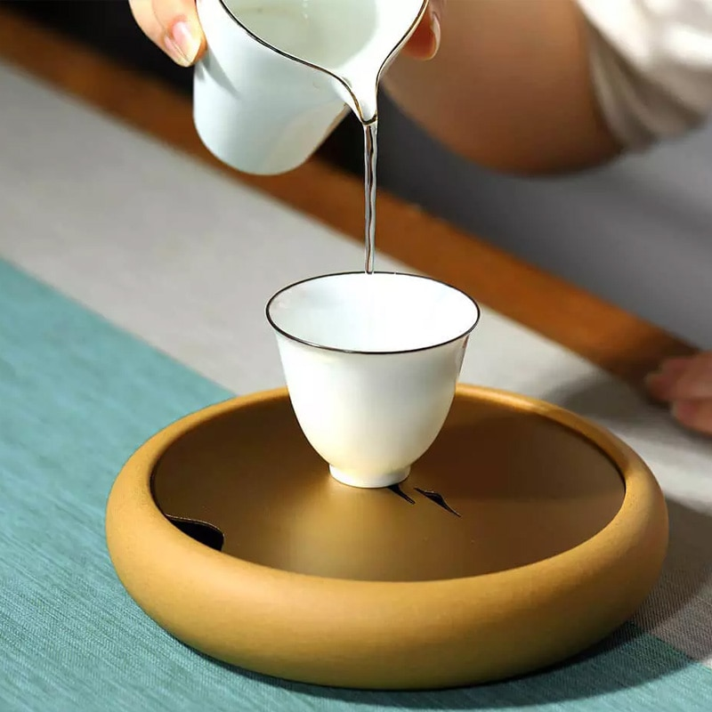 LIYONG Household Tea Table Trays Saucer 450mL Tea Ceremony Table Purple Sand Gold Travel Dry Foam Tray Storage Water Saucer enlarge