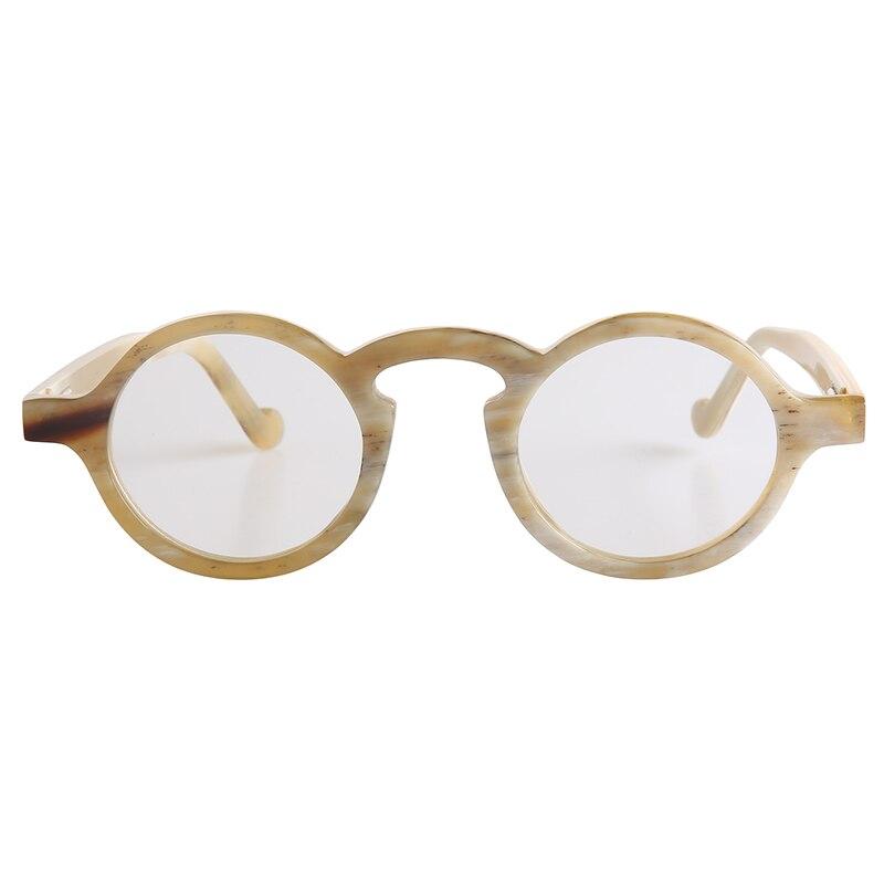 نظارات شمسية للرجال والنساء ، صناعة يدوية ، لون فاتح ، إطارات بيضاوية دائرية كبيرة لقصر النظر