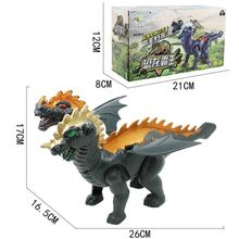Two Head Electric Light Sound Dinosaur Toys Boy Toy Gift Jurassic 63HE