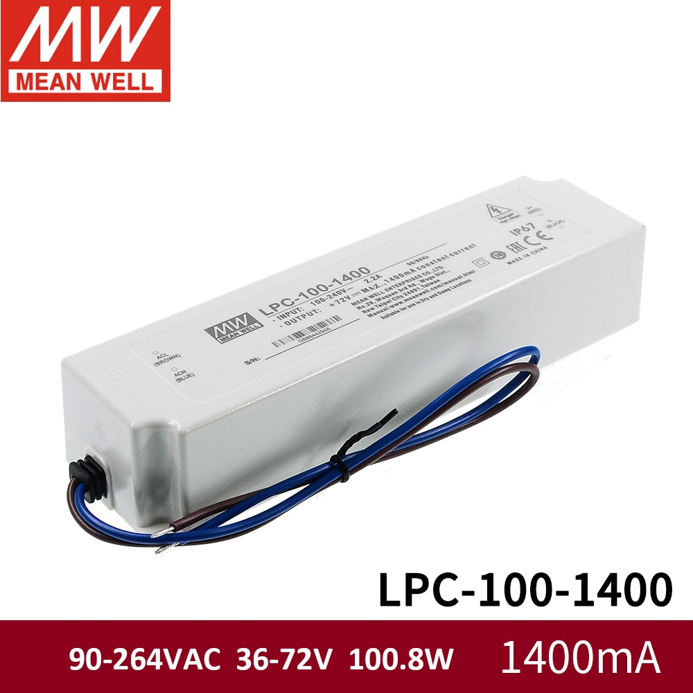 Meanwell LPC-100 90-264VAC À Prova D Água LED Driver fonte de alimentação Única Saída 100 W 350mA 500mA 700mA 1050mA 1400mA 1750mA 2100mA