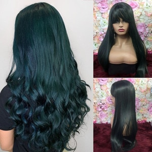 SiNuo Women Long Straight Synthetic Wigs High Temperature Hair with Bangs Mix Natural Black Green Mechanism Cosplay Perruques