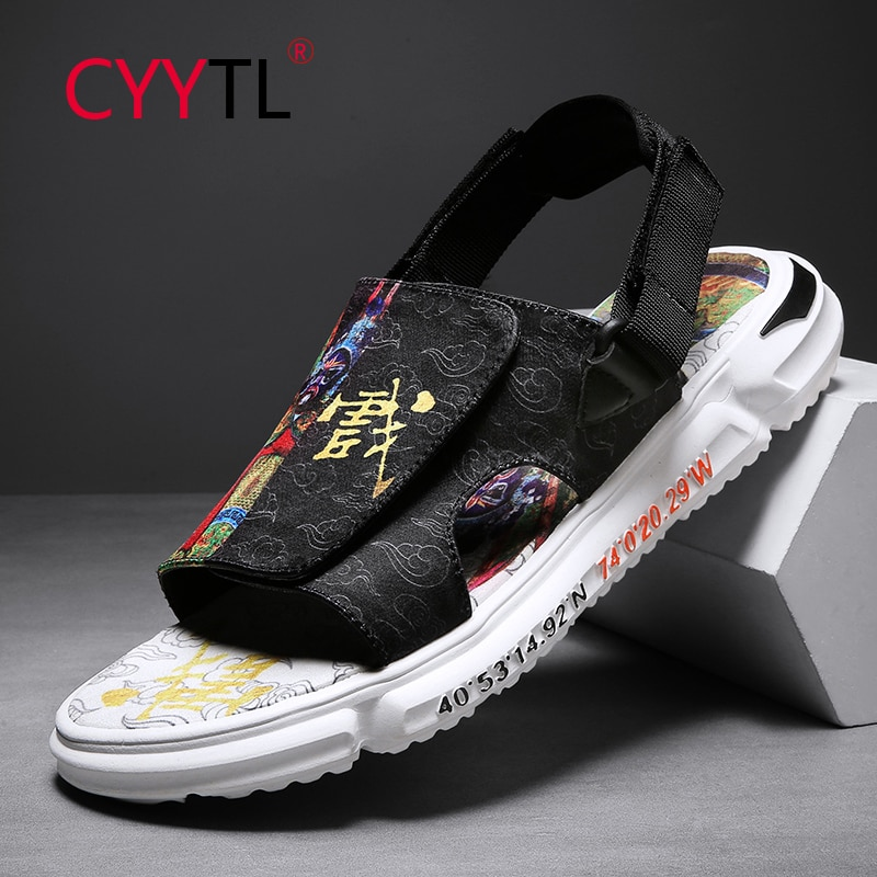 CYYTL Men Open Toe Chinese Elements Printed Sandals Summer Outdoor Walking Slippers Home Casual Fashion Flip FlopsShoes