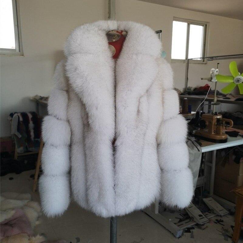 معطف شتوي فاخر للنساء ، معطف فرو ثعلب أصلي 100% ، ياقة طية صدر كبيرة ، سميك ، دافئ ، خارجي ، غير رسمي