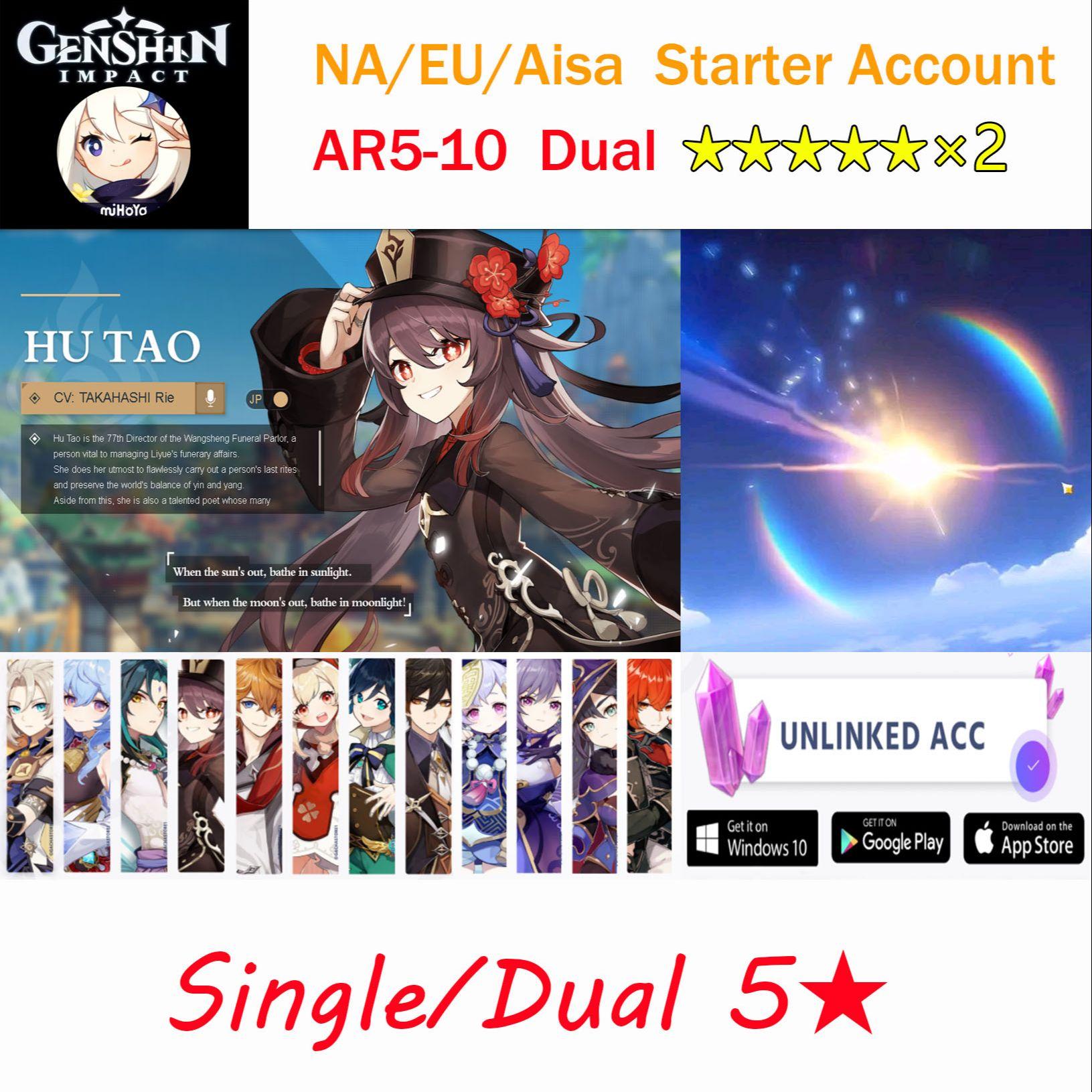 Genshin impact Account Hutao Zhongli Venti Klee Tartaglia Childe Albedo Ganyu Xiao Diluc AR5-10 Asia/America/Europe Starter