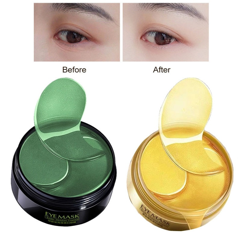 60 pçs ouro/algas colágeno máscara de olho rosto anti rugas gel máscara de ouro remendos de olho colágeno hidratante olho cuidados com os olhos