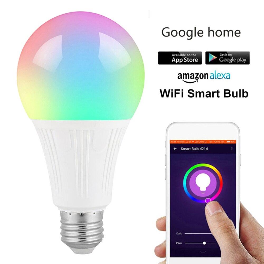 Bombilla LED inteligente foco wi-fi LED luz RGBW 10W E27/E26/B22 APP Color de Control remoto trabajar con Alexa de Amazon y Google