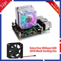 52pi raspberry pi 4 model b ice tower rgb cooling fan copper tube cooler with 5 layer case for raspberry pi 4 b 3b 3b