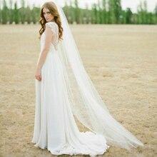 Velo de vals con borde cortado, velos de novia largos blancos de una capa, velos de boda con peine, velos de fiesta de Boda nupcial Vintage baratos