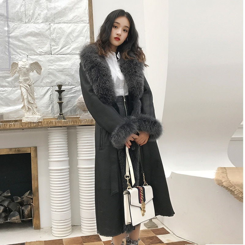 rf1977 Natural Fox Fur Collar Long Style Sheep Fur Overcoat Super Warm Winter Woman's Real Sheep She