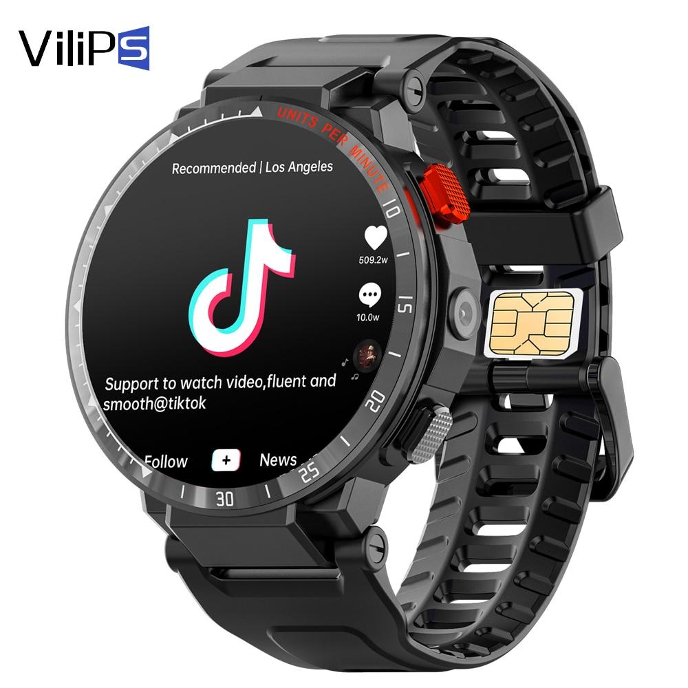 Vilips هاتف ساعة ذكية اللياقة البدنية أندرويد 7.1 iOS واي فاي 4G Smartwatch الرجال 1.6 بوصة كاميرا فيديو لتحديد المواقع دعوة ساعة مراقب معدل ضربات القلب