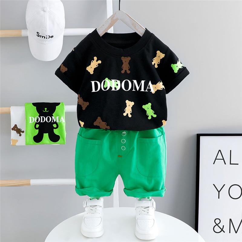 Hylkidhuose criança roupas infantis 2020 verão bebê meninos conjuntos de roupas manga curta urso t camisa shorts crianças roupas