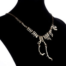 Collier en chaîne avec squelette mort dinosaure, collier gothique de Style Punk Tyrannosaurus Rex, en os, collier et pendentif pour hommes, bijoux